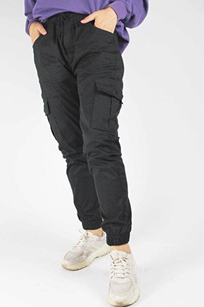 GUESPO Unisex Siyah Likralı Kargo Pantolon