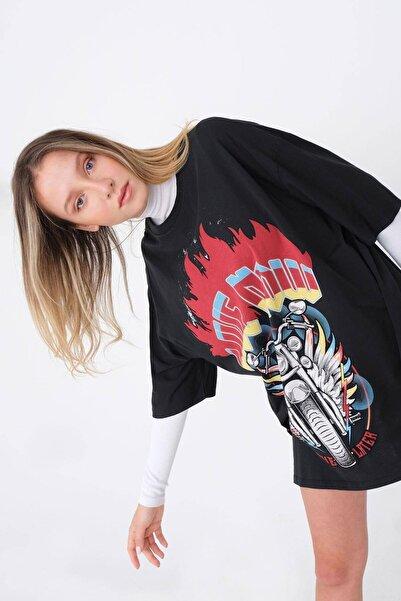 Addax Oversize Baskılı T-shirt P9590 - D9