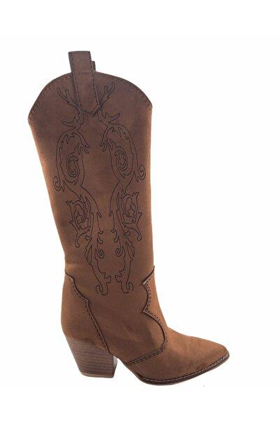 Gess Taba Nakış Detaylı Western Kovboy Çizme