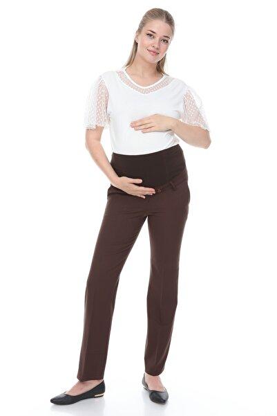 MİMBA Kahverengi Klasik Hamile Kumaş Pantolonu
