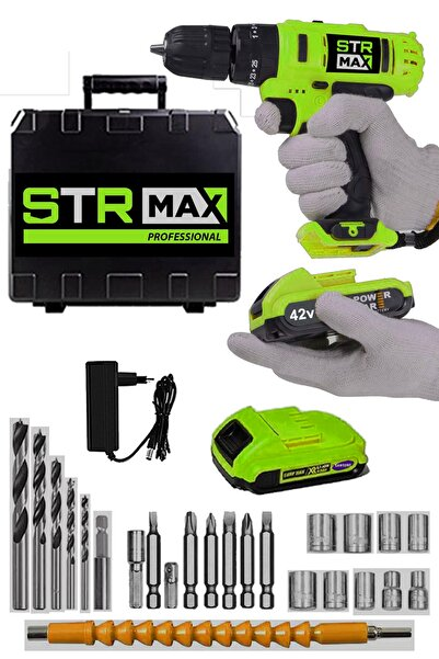 StrMax Germany 42v 5ah X Hard Metal Şanzuman Samsung Çift Akülü Şarjlı Vidalama Matkap 27 Parça Set