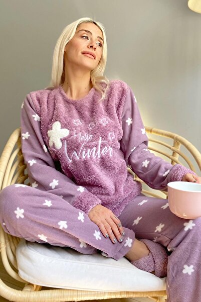 Pijamaevi Mor Hello Winter Desenli Kadın Peluş Pijama Takımı
