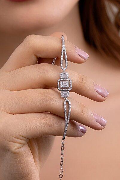 Molenza Kadın Baget Taşlı Gümüş Bileklik