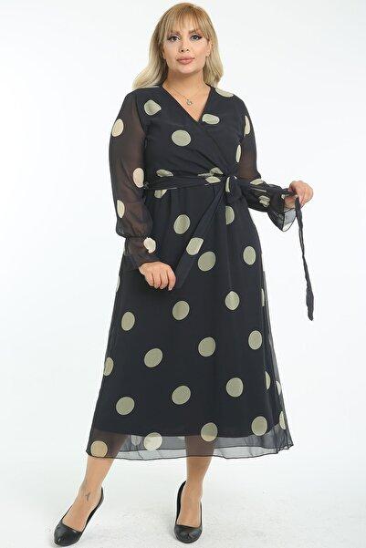 1fazlası Kadın Büyük Beden Dore Siyah Kruvaze Yaka Astarlı Şifon Elbise