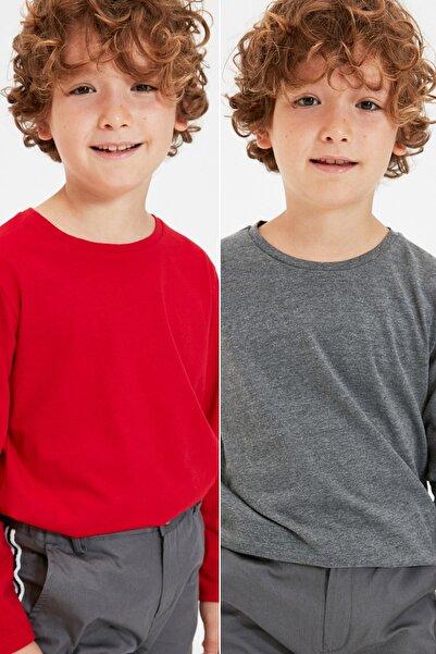 TRENDYOLKIDS Çok Renkli 2'li Paket Erkek Çocuk Basic Örme T-Shirt TKDAW22TS0082