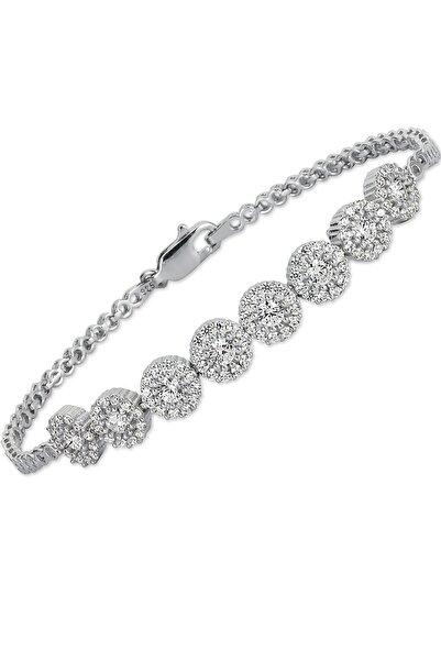 Molenza Beyaz Taşlı Çiçek Gümüş Kadın Bileklik