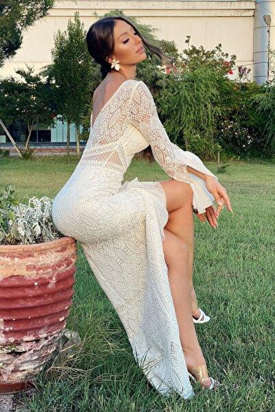 Carmen Ekru Brode Dantel Kolları Volanlı Uzun Abiye Elbise
