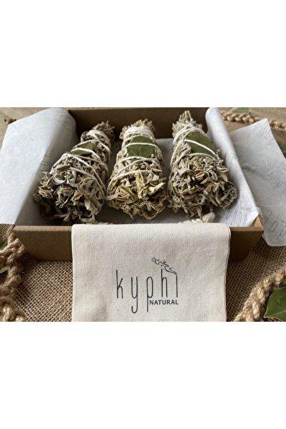 Kyphi Natural 3 Adet Defneli Adaçayı Tütsü Demeti, Keten Kese Hediyesiyle
