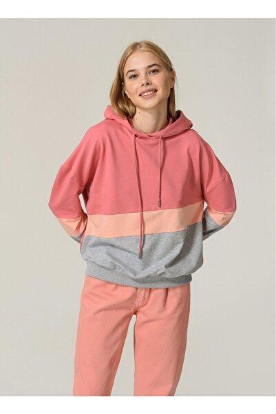 Fabrika Bloklu Kapüşonlu Kadın Sweatshirt - Gül Kurusu
