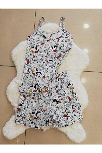 Mickey Mouse Snoopy Desenli Şortlu Pijama Takım
