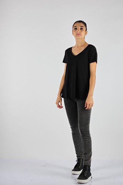 American Vintage V Yaka Kısa Kol Siyah Kadın Penye T-Shirt Jac51h21