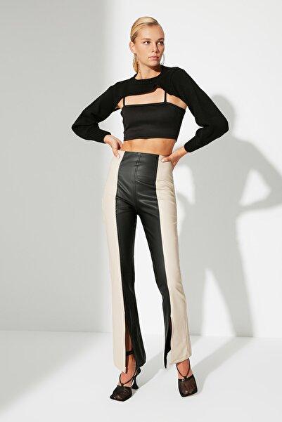 TRENDYOLMİLLA Siyah Renk Bloklu Yırtmaçlı Pantolon TWOAW22PL0084
