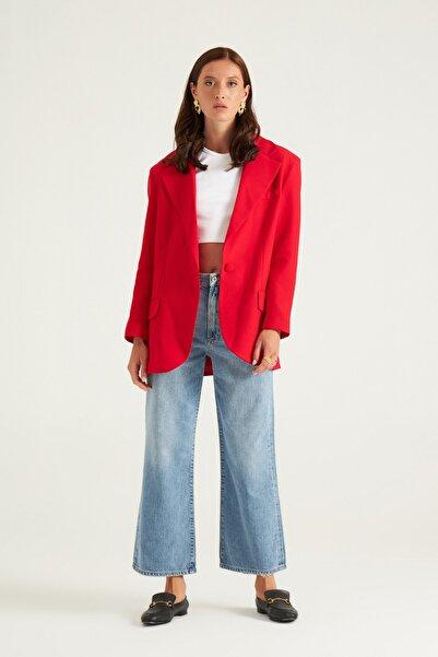 Mathilda By Çiğdem Bilici Kırmızı Tek Düğme Oversize Blazer Ceket