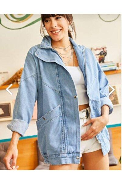 ESB Design Kadın Mavi Cepli Fermuarlu Çıtçıtlı Uzun Denim Ceket