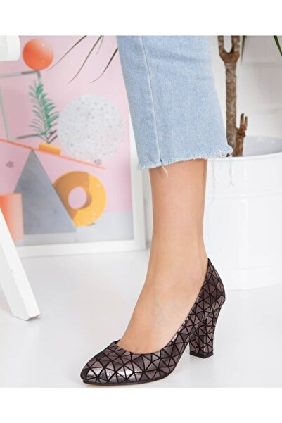 Mitto Kadın Şık Stiletto, Kalın Topuklu Platin Stiletto,ww2