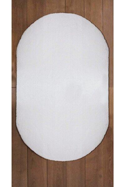 Royal Oval Halı Puf Düz Beyaz Kaymaz Taban 200x330