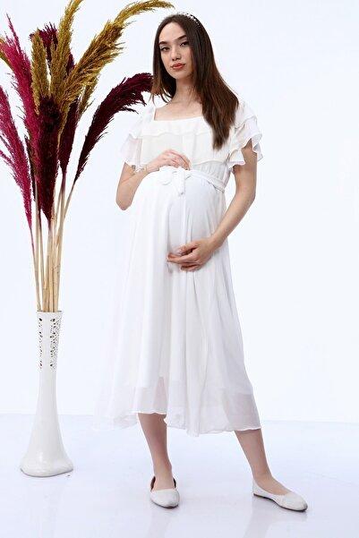 Elbise Delisi Beyaz Madonna Fırfır Yaka Büyük Beden Şifon Hamile Elbisesi