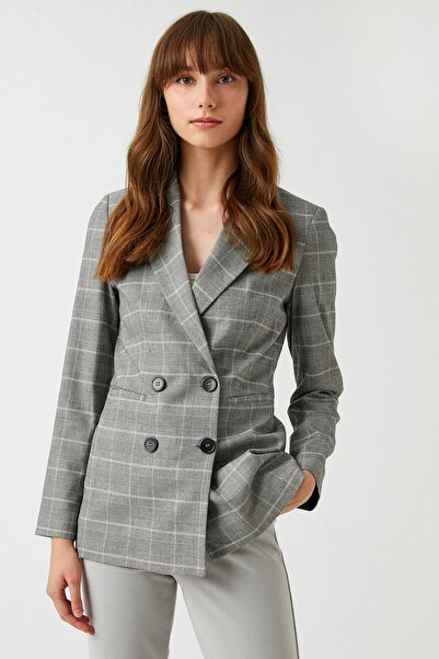 Koton Kadın Siyah Ekoseli Ceket