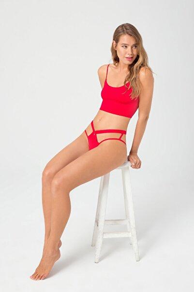 Cottonhill Kadın Kırmızı Transparan Lastik Detaylı Dekolteli Hipster Külot
