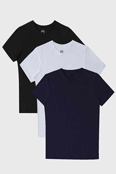 D'S Damat Ds Damat Slim Fit Standart 3'lü T-shirt
