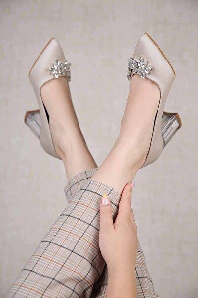Ccway Kadın Yapraktaşlı Şeffaf Topuklu Ayakkabı Ten Saten
