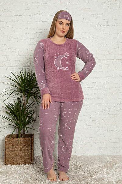 TAMPAP Kadın Büyük Beden Polar Pijama Takımı 600