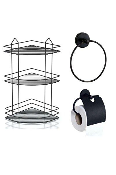 evina Banyo Aksesuar Seti 3'lü Şampuanlık Siyah Yuvarlak Havluluk Tuvalet Kağıtlığı Mat Siyah