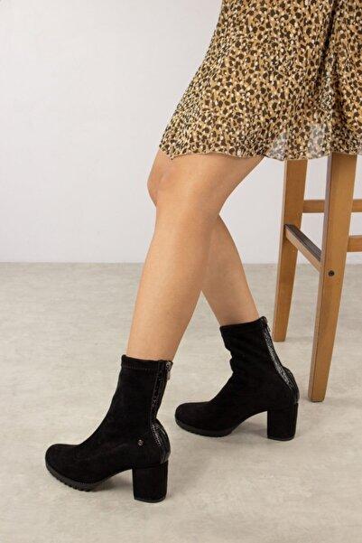 Gökhan Talay Siyah Süet Bacağı Saran Topuklu Kadın Bot