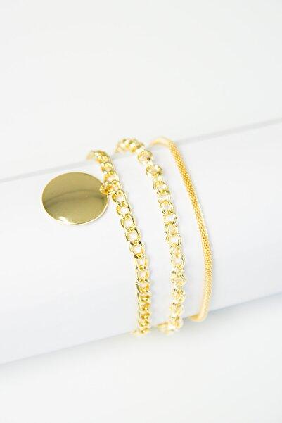 Modex Altın Sarısı Üçlü Zincir Bileklik