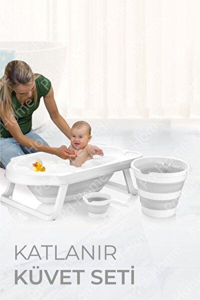 PD-Home Katlanır Çocuk Küveti, Kova Ve Maşrapa Seti Gri