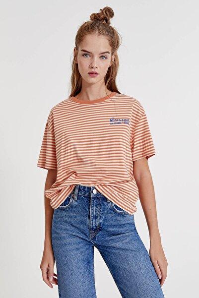 Pull & Bear Kontrast Sloganlı Çizgili T-Shirt