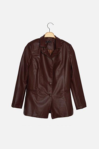 TRENDYOLMİLLA Bordo Düğmeli Blazer Ceket TWOAW22CE0202
