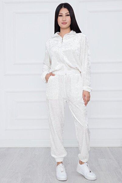 PULLIMM Kadın Beyaz Fermuarlı Kadife Eşofman Takımı E9013