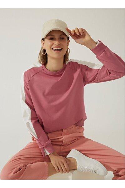 Fabrika Kadın Kontrast Detaylı Sweatshirt - Gül Kurusu