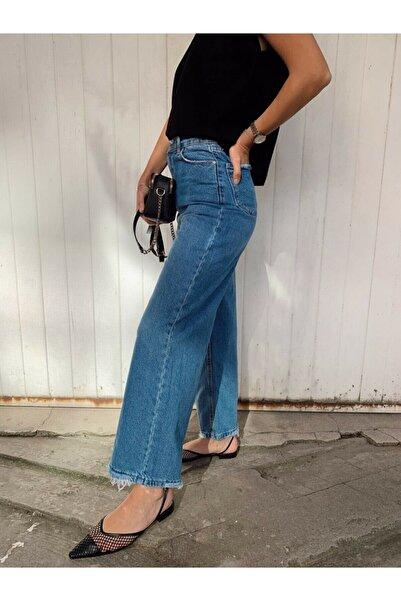MAIO TASARIM Mavi Wide Leg Jean Pantolon