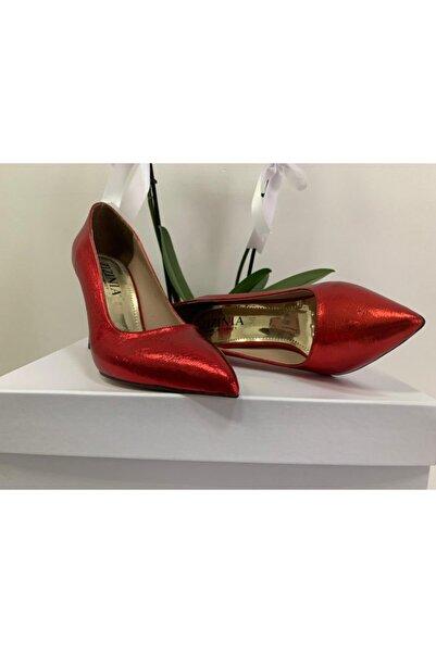 NASYA Moda Kadın Kırmızı Parlak Stiletto