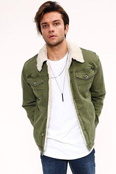 LTC Jeans Erkek Yeşil Beyaz Kot Ceket