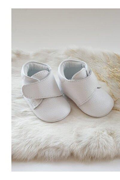Hodore Hakiki Deri Cırt Cırtlı Bebek Botu Beyaz