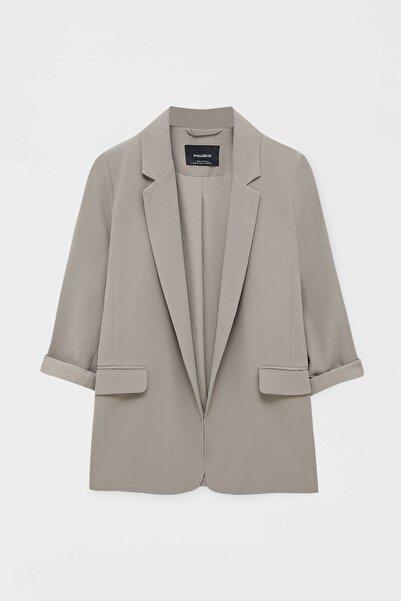 Pull & Bear Basic kıvrık kollu blazer