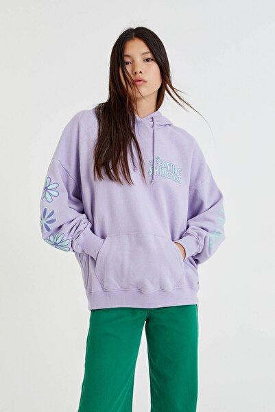 Pull & Bear Kontrast Sloganlı Kapüşonlu Sweatshirt