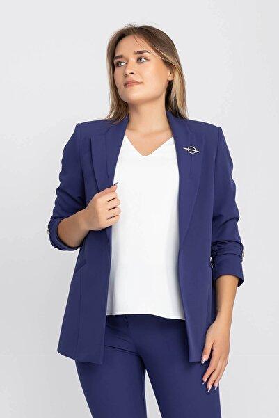 AYHAN 90503 Broşlu Büzgülü Ko Astarlarlı Blazer Ceket