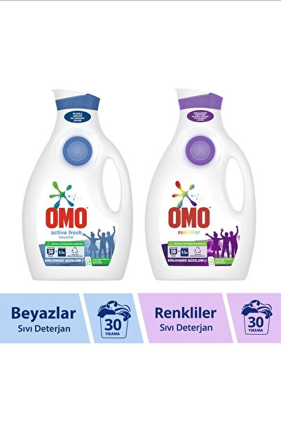 Omo Sıvı Deterjan Active Fresh 1950 ml + Color 1950 ml