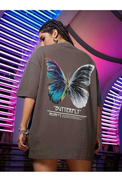 Millionaire Kadın Kahverengi Butterfly Oversize T-shirt