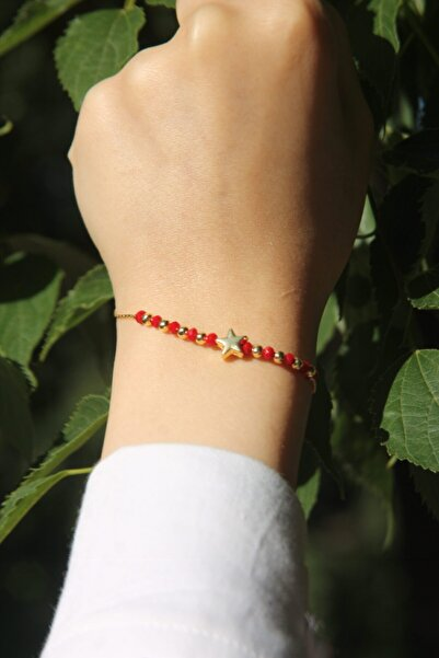 ZİRKONTAŞ Kırmızı Boncuklu Yıldız Bileklik