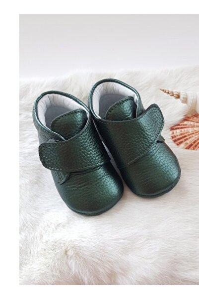 Hodore Hakiki Deri Cırt Cırtlı Bebek Botu Yeşil