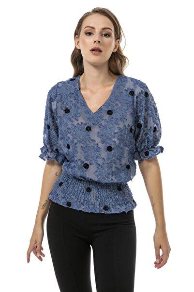 Modagusto Mavi V Yaka Fırfırlı Manşet Puantiyeli Bluz