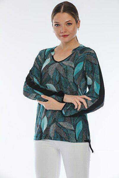 Perla Blanca Kadın  Yaprak Desenli Yeşil Tonlar Belden Bağcıklı Bluz