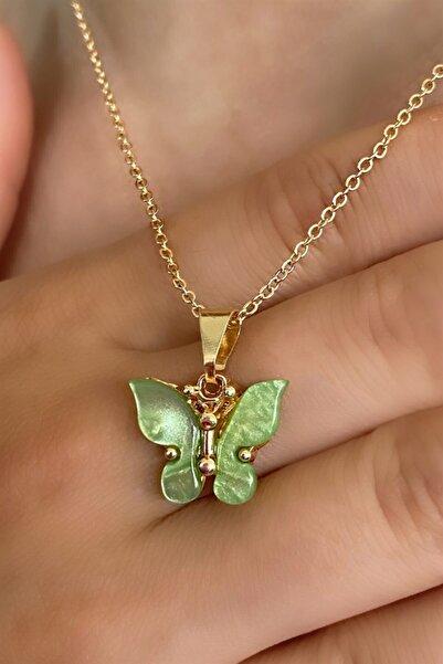 TAKIŞTIR Altın Renk Yeşil Kelebek Figürlü Kolye