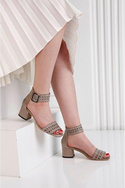 Edvani Ribbon Vizon Taş Kaplama Lazer Kesim Ayakkabı