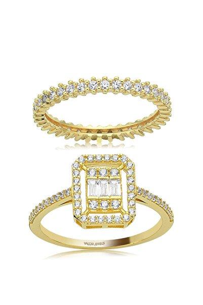 Valori Jewels 0.30 Karat Baget Yüzük, 0.60 Karat Altın Rengi Gümüş Tamtur Kombini